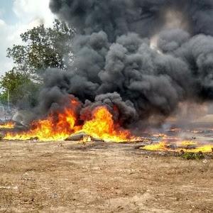 Incêndio em cisternas do governo federal em Batalha, no sertão do Piauí