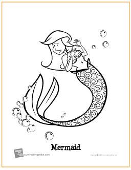 mermaid  free printable coloring page