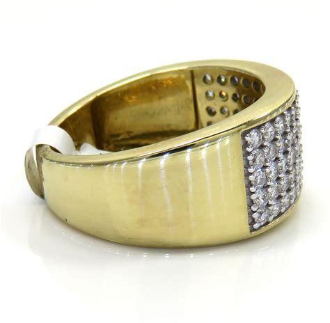 10K Yellow Gold Five Row Diamond Wedding Band Ring 1.43CT