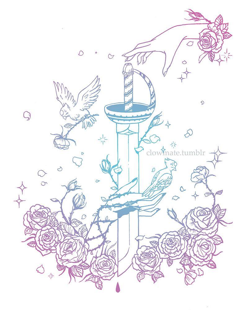 """Everything I did, I did for her, but now she's gone, and I'm still here…"" tattoo illustration inspired by this tattoo I saw in Pinterest. Made me think of Pearl and the pain that still lingered in..."