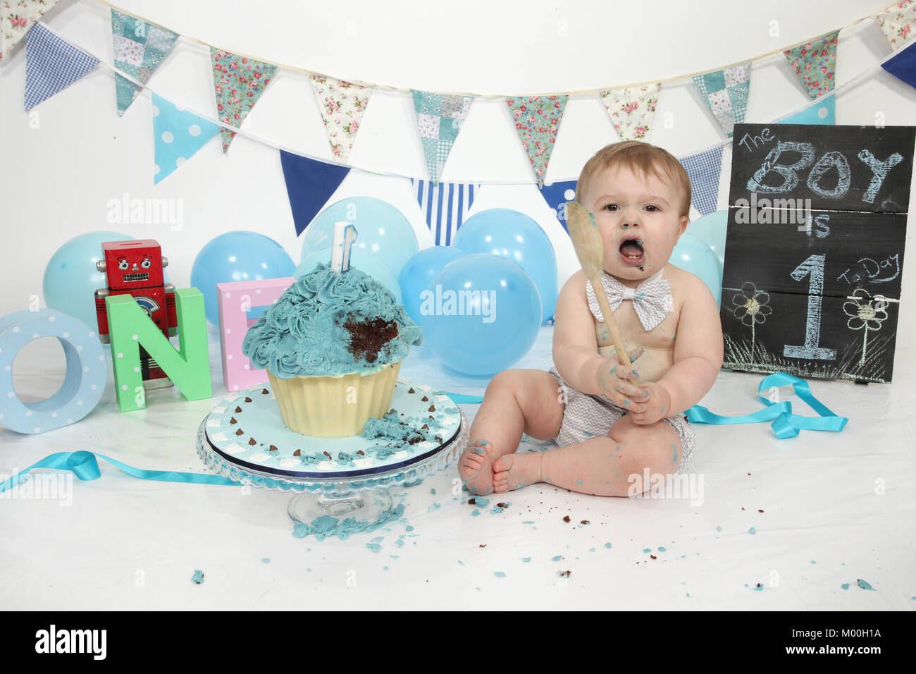 1 Year Old Boy Birthday Party Cake Smash Fun Food Stock Photo