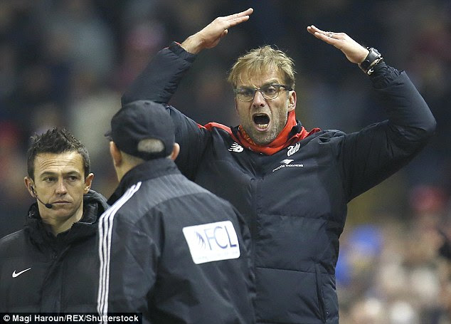 Liverpool manager Klopp recently had a touchline row with West Bromwich Albion boss Tony Pulis (centre)