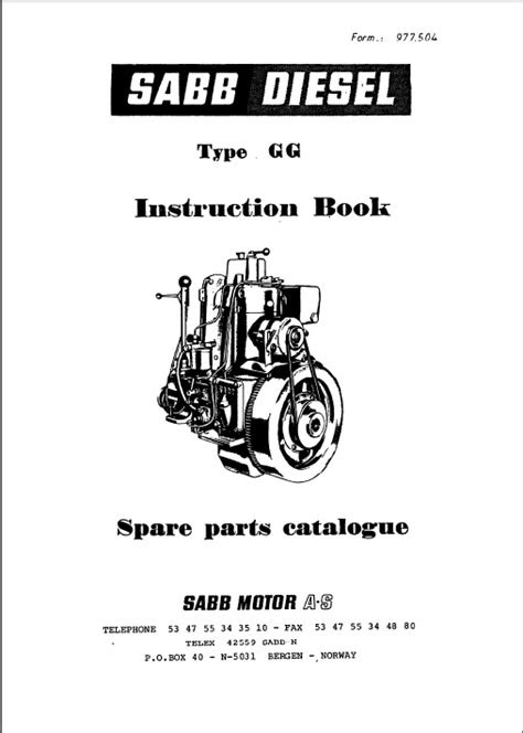 Saab diesel engine GG Instruction Book and spare Parts