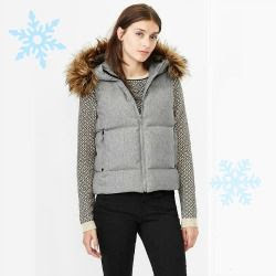 Gap Faux Fur Trim Vest
