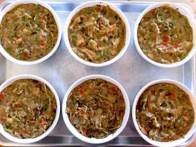 Pot Pie Filling added to Ramekins