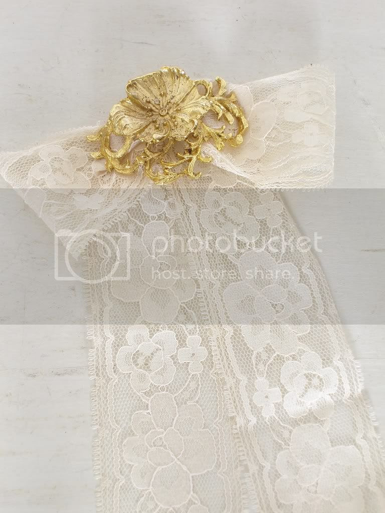 White Lace with gold shoe buckle