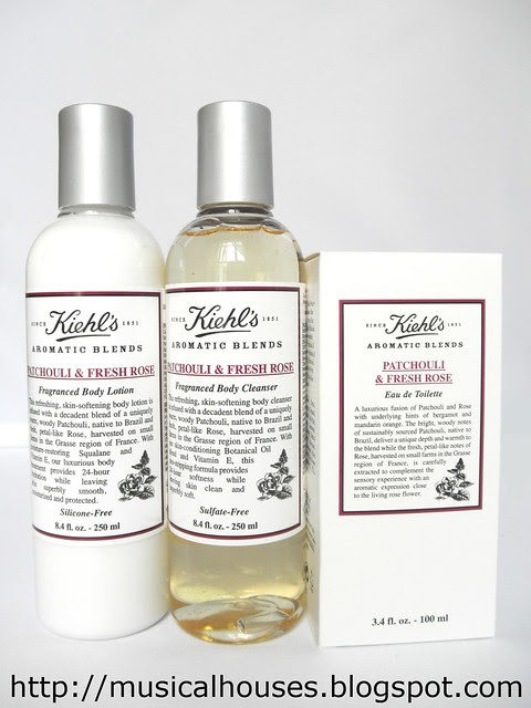 Kiehls Patchouli and Fresh Rose Aromatic Blends Products