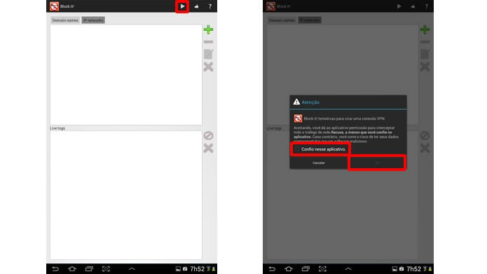 Usando o aplicativo Block it!, clique nas marcações indicadas para iniciar a configuração de um processo que controla o bloqueia anúncios (Foto: Reprodução/Daniel Ribeiro)