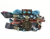 Bohemian Stacking Bracelet Lucky Charm Upcycled Fabric Tribal Gypsy Bangles Women Girls Fiber Hippie Bracelets - peggytrue