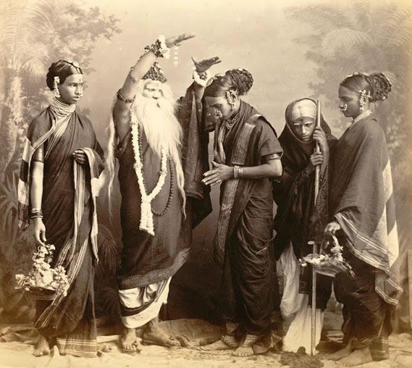 Studio Portrait of a Marathi Theatrical troupe - Bombay (Mumbai) 1870's