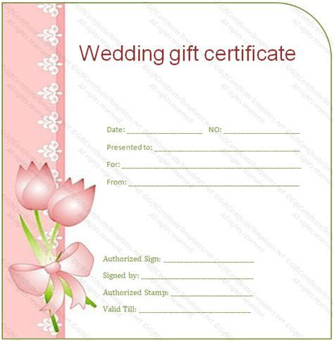 Side Border Wedding Gift Certificate Template