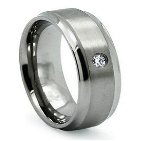 titanium mens wedding band dark silver satin promise