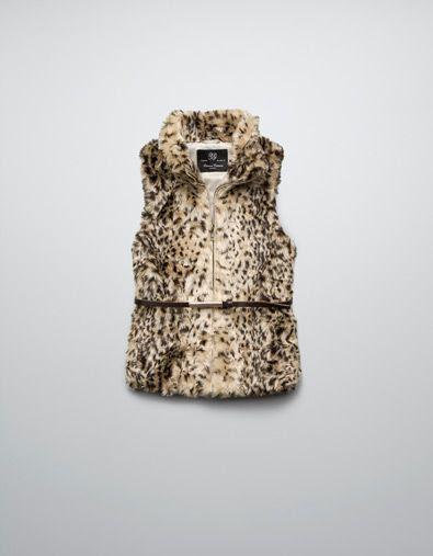 Zara Leopard Print Fur Waistcoat
