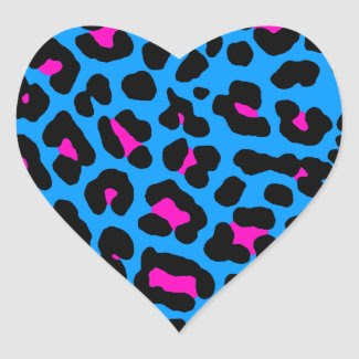 Corey Tiger 80s Leopard Spots (Blue) Heart Sticker