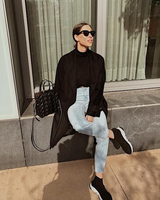 Le Fashion Blog Casual Chic Winter Black Cat eye Sunglasses Mock Neck Sweater Black Overcoat Light Wash Cropped Jeans Balenciaga Sneakers Via @de_rococo
