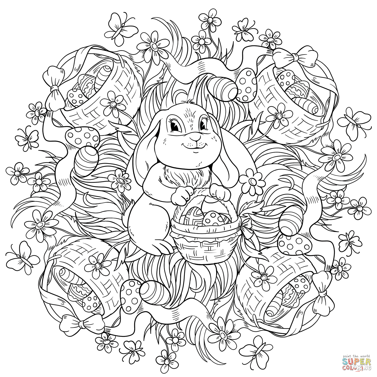 Easter Mandala with a Rabit and Buskets Full of Eggs ...