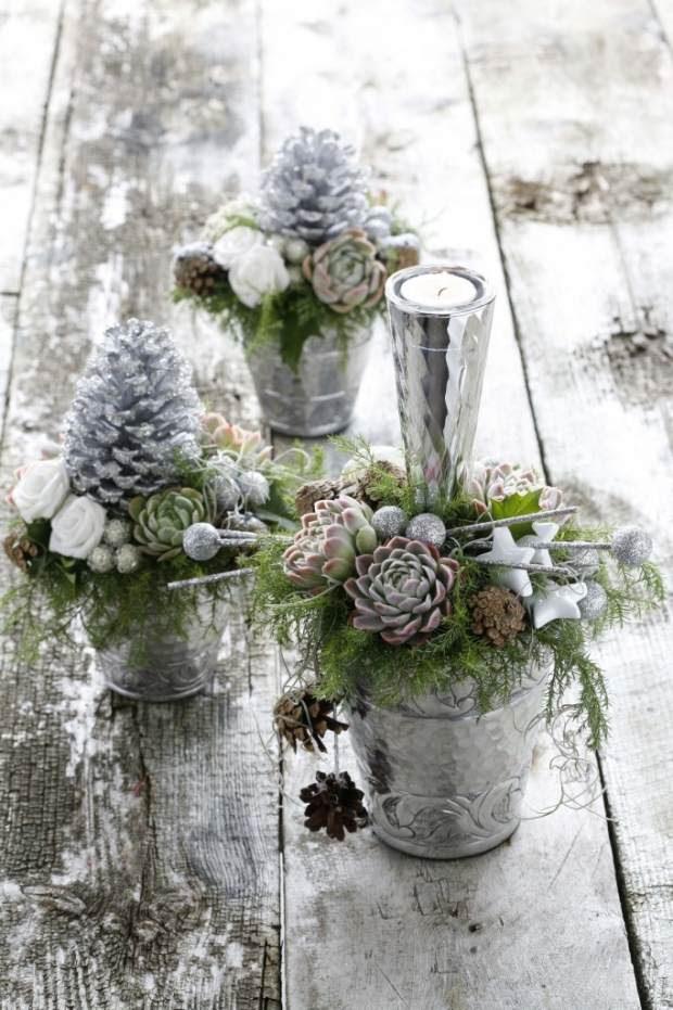 Deko Ideen Winter.Deko Ideen Garten Im Winter Tannenzapfen Silber Maison