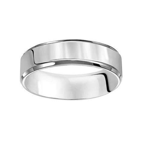 Platinum 6mm Beveled Edge Comfort Fit Wedding Band, Size