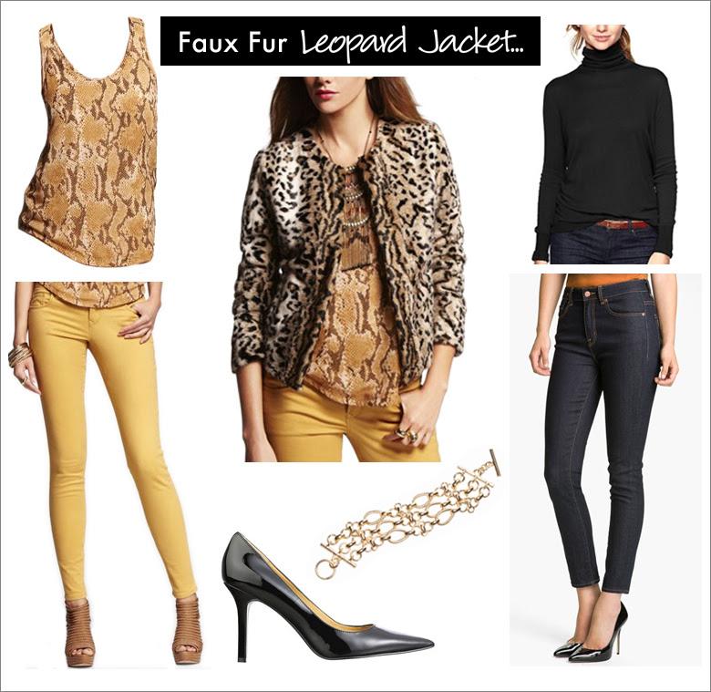 f8faa1915ec Stella Sateen Legging sold   Express Faux Fur Leopard Jacket sold   Express  Martina Pump sold   Nine West Tripple Golden Links Toggle Bracelet sold    The ...