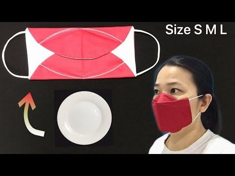Nova versão - SEM NEVOEIRO-Tutorial de costura de máscara facial 3D DIY simples, é muito rápido e fácil