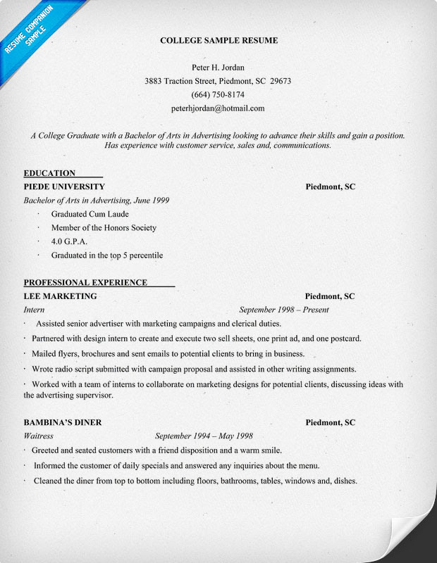 Example Resume: Example Resume Of College Student