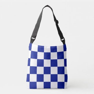 All-Over-Print Checkered Royal Blue and White Tote Bag