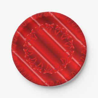 Paper Plates with Brilliant Red Design 7 Inch Paper Plate