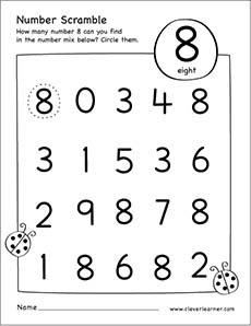 scrambled numbers preschool activity worksheet number 8a