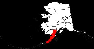 Map of Alaska highlighting Lake and Peninsula ...