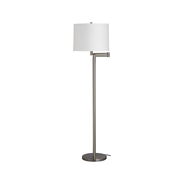 Metro II Nickel Swing Arm Floor Lamp in Floor Lamps, Torchieres ...