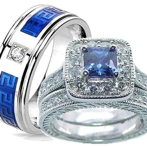 buy    piece wedding ring set sapphire blue