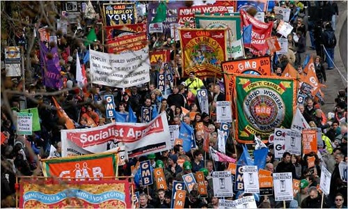 A demonstration of tens of thousands in London on March 28, 2009 opposing the G20 summit. The economic forum is meeting to discuss the global financial crisis. Demonstrators protested the imperialist wars and the trillion dollar handouts to the bankers. by Pan-African News Wire File Photos