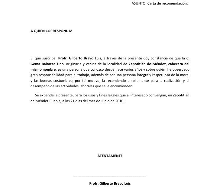 Carta De Recomendacion Moral K Carta De