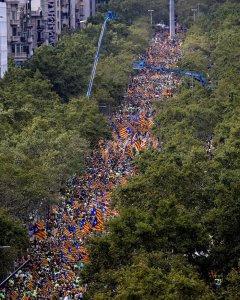 El Passeig de Gràcia ha estat un dels carrers plens de gom a gom per  manifestants de la Diada / EFE