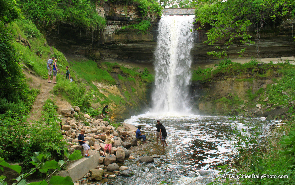 The ever popular tourist attraction in Minneapolis, the Minnehaha Falls. Depending on the amount of rain, the Falls can dry up. I've seen it once, but this summer we've had plenty of rain to keep the falls busy.