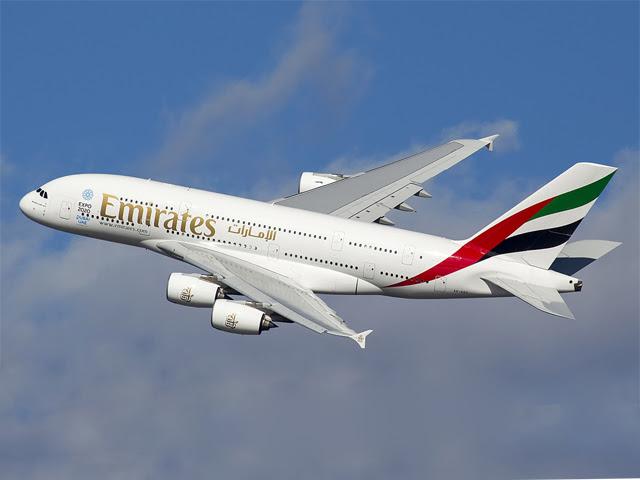 O A380 da Emirates deve chegar ao Brasil por volta das 19h50 deste sábado e partir às 01h15 de domingo