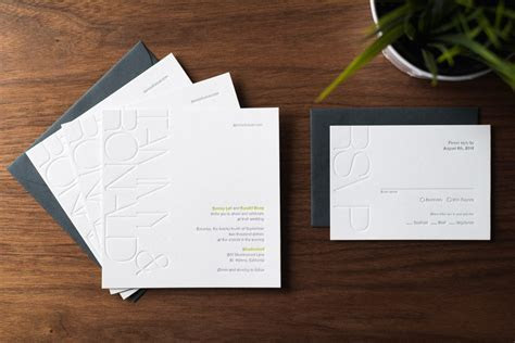 Modern Blind Emboss Wedding Invitation ? Noteworthy