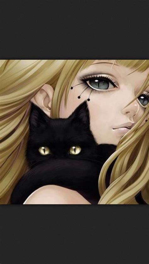 girl black cat anime manga art illustration art