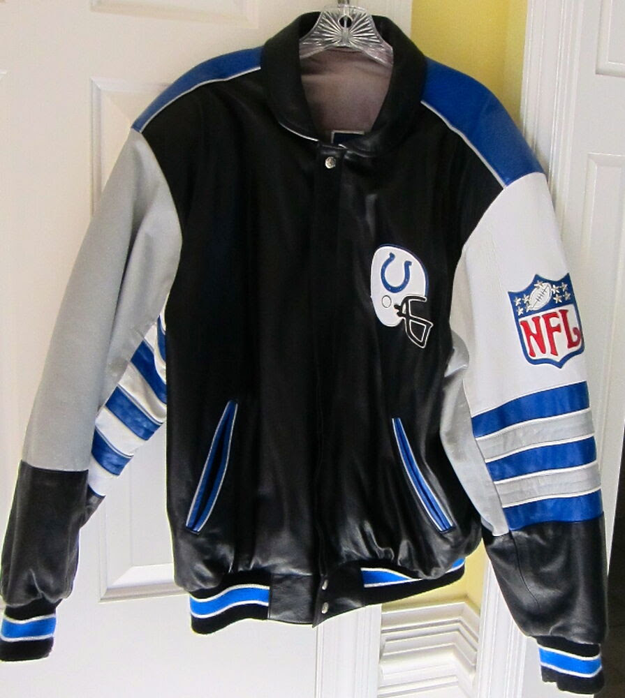 NFL Genuine Custom Made Leather Reversible Jacket Indianapolis Colts Size Large  eBay