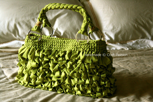 Green Shaggy Bag Made from Loop Stitch