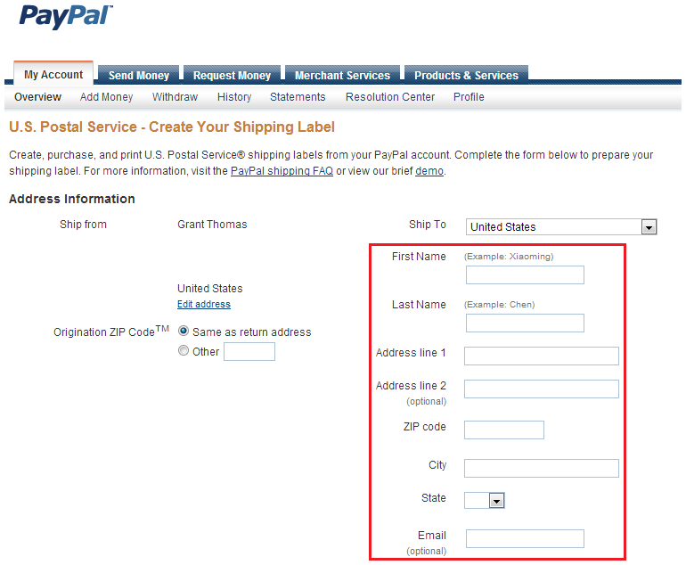 link paypal shipping label