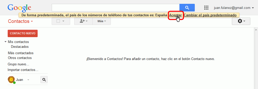 Gmail. Abrir página de contactos