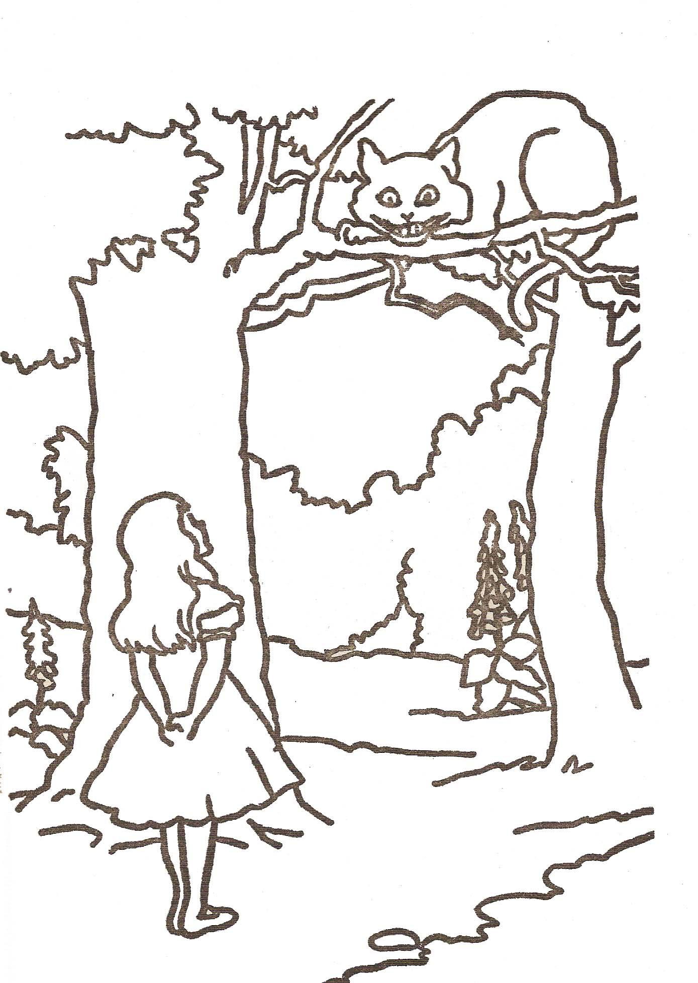 Coloriage petite fille et chat dans la forªt