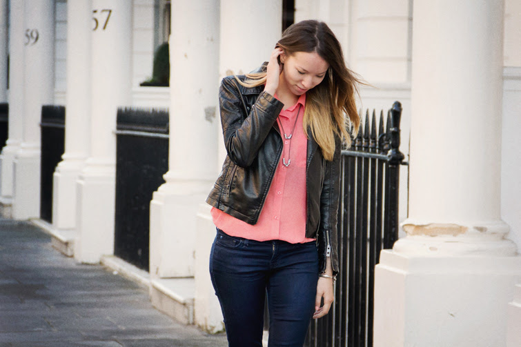 Sheer blouse, leather jacket, jeans