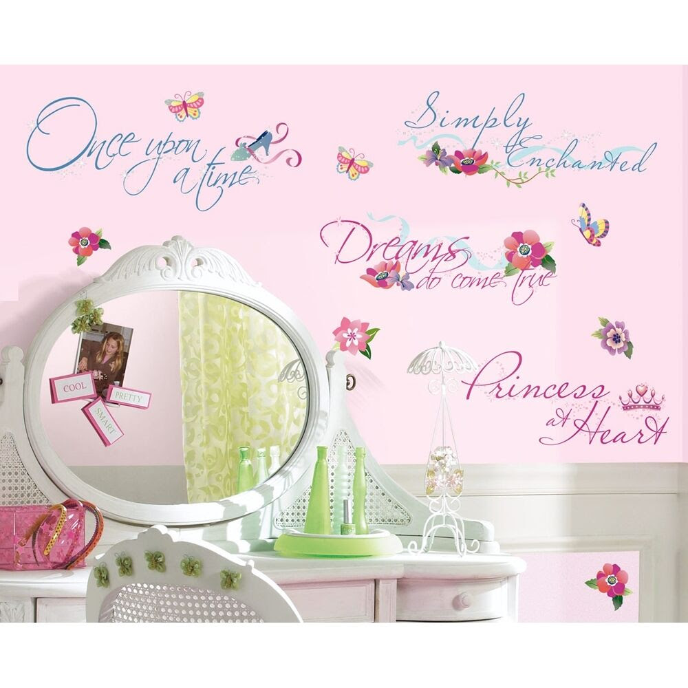 New DISNEY PRINCESS QUOTES WALL DECALS Princesses Stickers Girls Room Decor  eBay