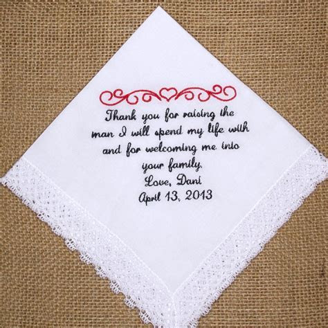 Wedding handkerchief embroidered for the mother of the