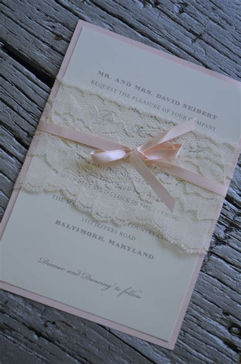 Lace belly band around wedding Invitation with satin