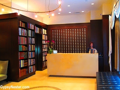 The lobby at the Library Hotel in Manhattan, New York City has a card catalog motif
