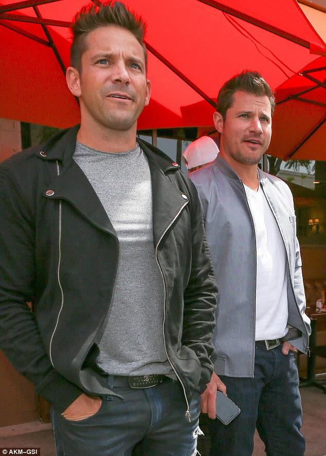 Back in the saddle: 90s heartthrob Nick and his old sparring partner Jeff Timmons looked ready for the stage