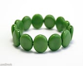 Green Oval Czech Beads 10mm (15) Pressed Opaque Flat Grass Spring - LaserBeads